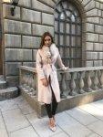 Мегз 2 в 1 дълго асиметрично палто кашмир с естествен пух