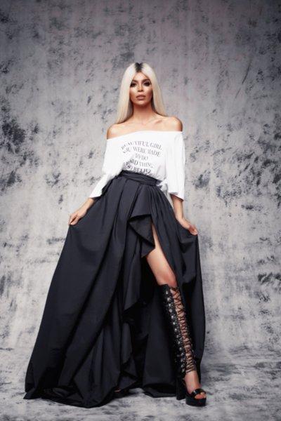 Мегз дълга драпирана пола с цепка