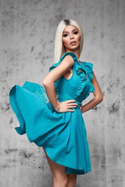 Мегз асиметрична рокля с харбали