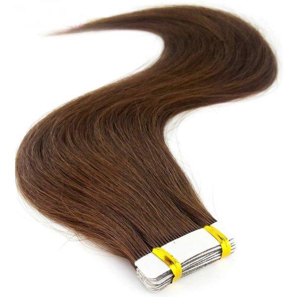 Екстеншън 100% човешка коса на стикери - 20бр - тъмни цветове