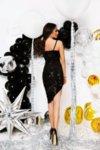 Мегз къса рокля с пайети и кадифе