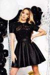 Мегз кожена рокля с 3D дантела