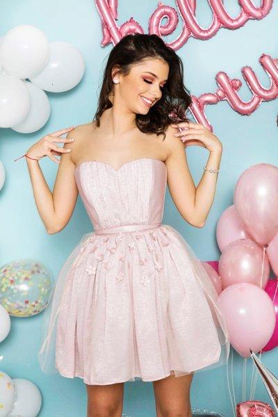 Мегз къса рокля с 3D цветя - КОРСЕТ