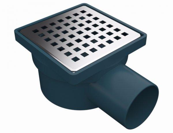 Сифон с клапа против миризми, страничен изход Ø50, ПВЦ рамка и решетка 100х100 мм от неръждаема стомана,