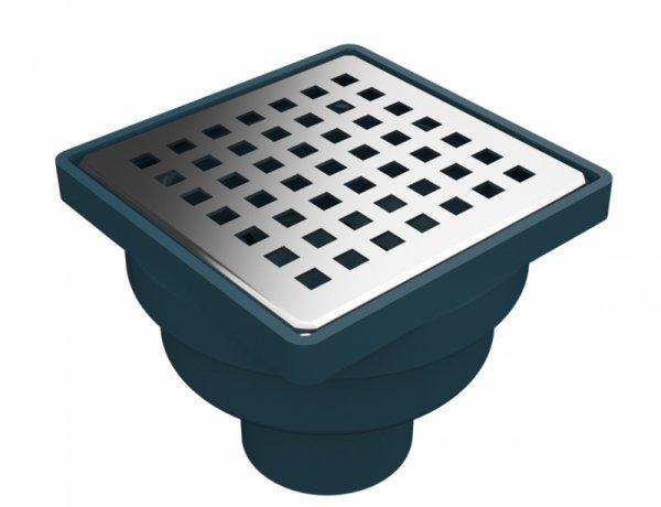 Сифон с воден затвор, долен изход Ф50, ПВЦ рамка и решетка 100х100мм от неръждаема стомана