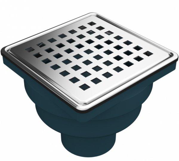 Сифон с воден затвор с долен изход Ф50, решетка 100х100мм и рамка от неръждаема стомана