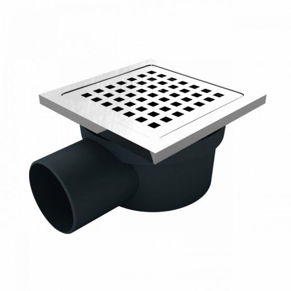 Сифон с двойна защита от миризми, страничен изход Ф50, 114х114мм решетка и рамка от неръждаема стомана
