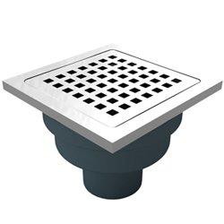Сифон с двойна защита от миризми, долен изход Ф50, 114х114мм решетка и рамка от неръждаема стомана