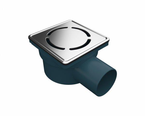Сифон с двойна защита от миризми, страничен изход Ф50, 100х100 мм дизайнерска решетка и рамка от неръждаема стомана
