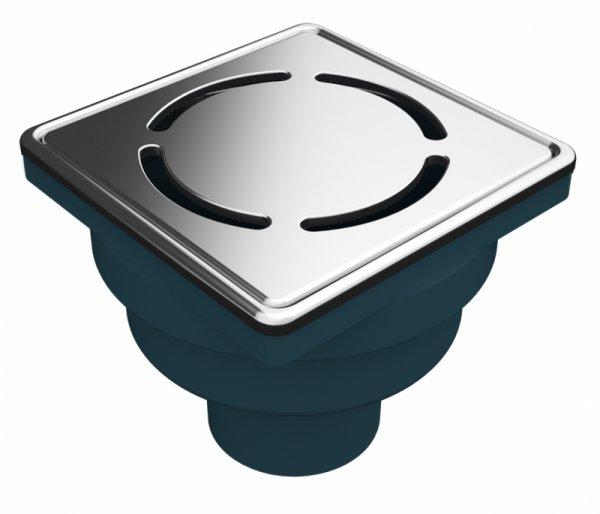 Сифон с двойна защита от миризми, долен изход Ф50, 100х100мм дизайнерска решетка и рамка от неръждаема стомана