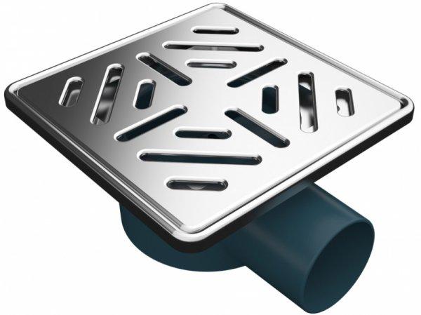 Сифон с двойна защита от миризми, страничен изход Ф50, 150х150мм решетка и рамка от неръждаема стомана