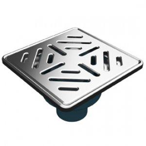 Сифон с двойна защита от миризми, долен изход Ф50, 150х150 мм решетка и рамка от неръждаема стомана
