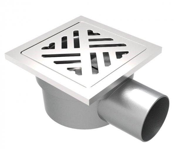 Сифон с двойна защита от миризми, страничен изход Ф50, 114х114мм дизайнерска решетка и рамка от неръждаема стомана