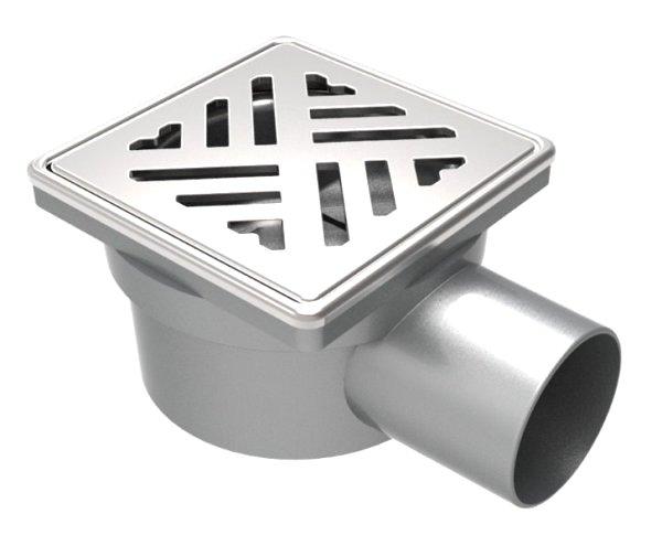 Сифон с клапа против миризми, страничен изход Ф50, решетка 100х100мм и рамка от неръждаема стомана