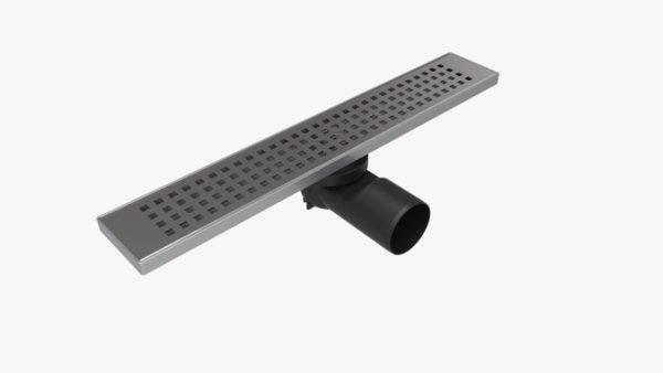Линеен сифон 60 см - Серия PB - решетка на квадратчета, клапа против миризми