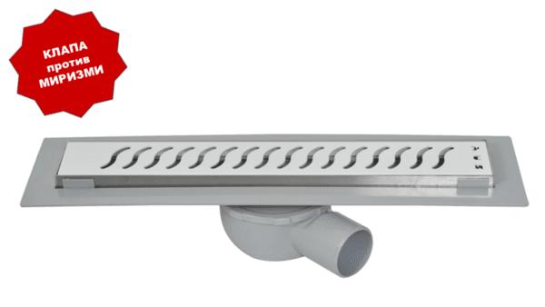 Линеен сифон с бяла решетка вълни - серия OPTIMA WHITE - 60 см