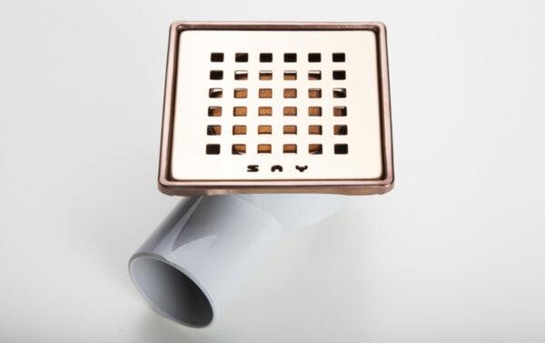 Квадратен сифон 10х10 см - бронз