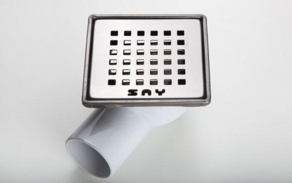 Квадратен сифон 10х10 см - черен