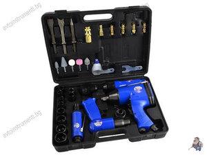 Комплект инструменти на въздух - пневматичен гайковерт, тресчотка, къртач, шлайф грифер