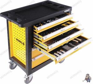 Оборудвана количка за инструменти,6 чекмеджета,177 части