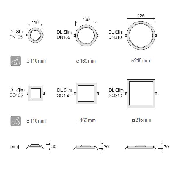 (DLS32) МИНИ LED ПАНЕЛ DL SLIM DN210 18W 6500K