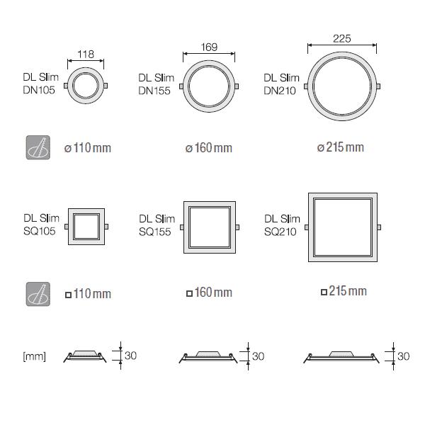 (DLS61) МИНИ LED ПАНЕЛ DL SLIM SQ210 18W 4000K