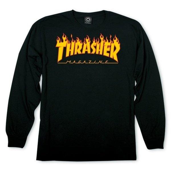 Мъжка блуза THRASHER FLAME LONGSLEEVE - Черна