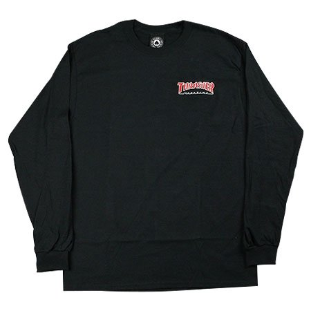 Мъжка блуза THRASHER OUTLINED EMB - Черна