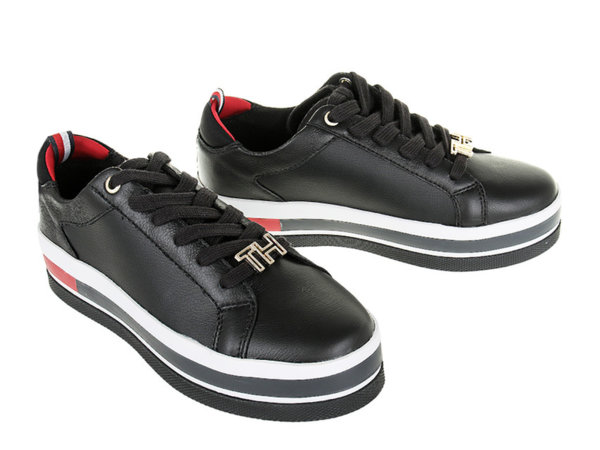 Дамски обувки Tommy Hilfiger Hardware Flatform Low Cut - Черни