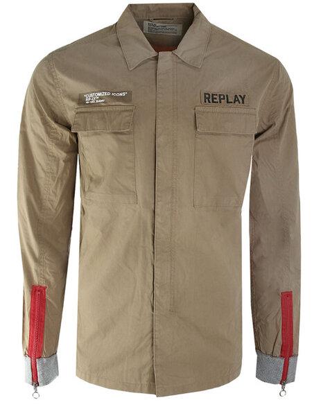 Мъжка риза Replay - Кафява