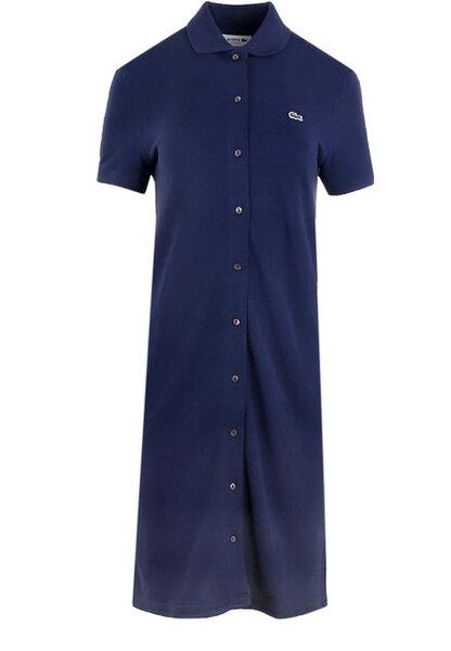 Дамска рокля Lacoste Cotton Piqué Buttoned Polo Dress - Синя