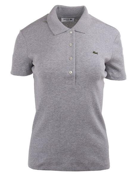 Дамска поло тениска Lacoste Ribbed Cotton - Сива