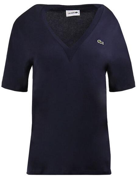 Дамска тениска Lacoste V-Neck Premium - Синя