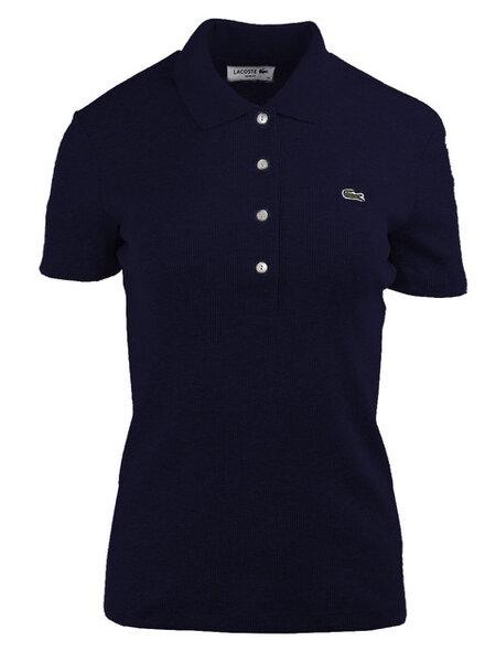 Дамска поло тениска Lacoste Ribbed Cotton - Синя
