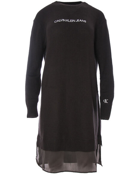 Дамска плетена рокля Calvin Klein Mixed Media Sweater - Черна