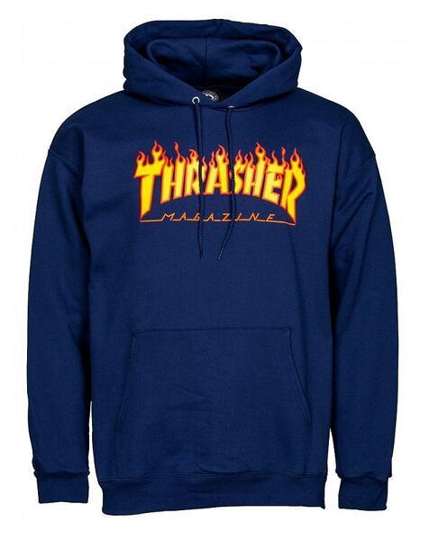 Мъжка блуза с качулка THRASHER FLAME HOODIE - Синя