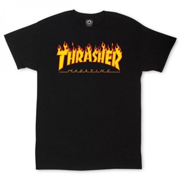Мъжка тениска THRASHER FLAME LOGO - Черна
