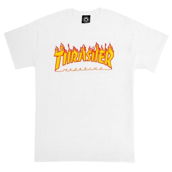 Мъжка тениска THRASHER FLAME LOGO - Бяла