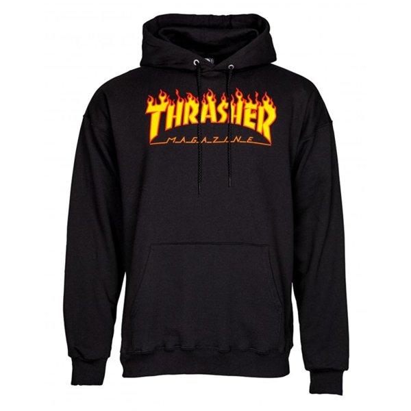 Мъжка блуза с качулка THRASHER FLAME HOODIE - Черна