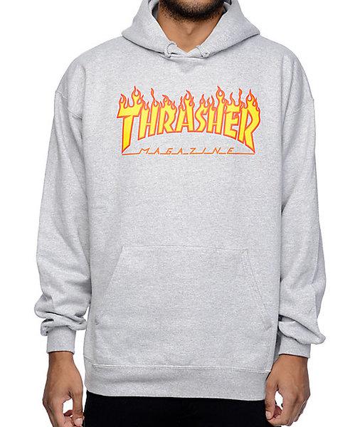 Мъжка блуза с качулка Thrasher Flame Hoodie - Сива