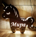 Дървена нощна лампа Мече