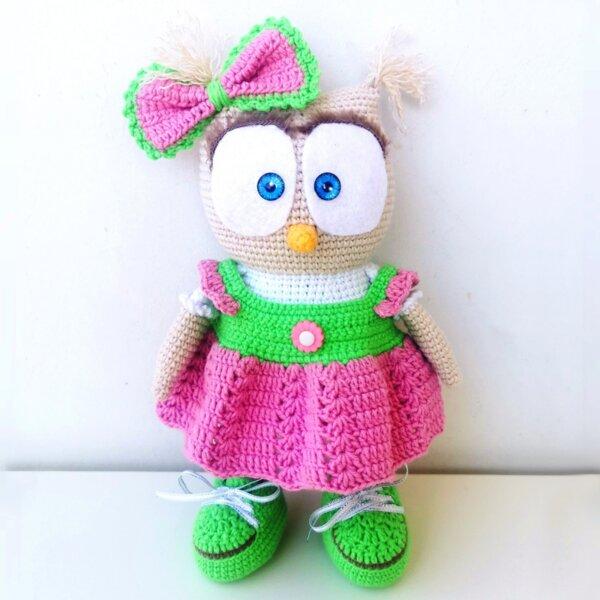 Ръчно плетена играчка Бухал