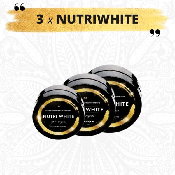 3x NUTRIWHITE - 3 броя Натурален кокосов въглен за избелване на зъби