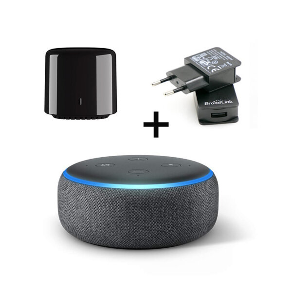 Комплект Amazon Echo Dot (3rd Generation) +Универсално дистанционно Bestcon RM4C Mini+ Захранване