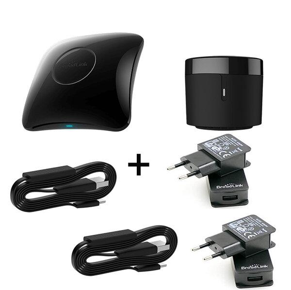 Комплект универсално дистанционно BroadLink RM4 Pro +RM4 Mini +2xHTS2 +2xUSB Power