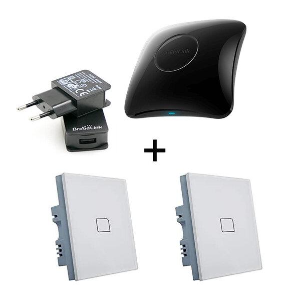 Комплект универсално дистанционно BroadLink RM4 Pro + 2бр. Bestcon TC2S -Умен Стенен Ключ +USB Захранване