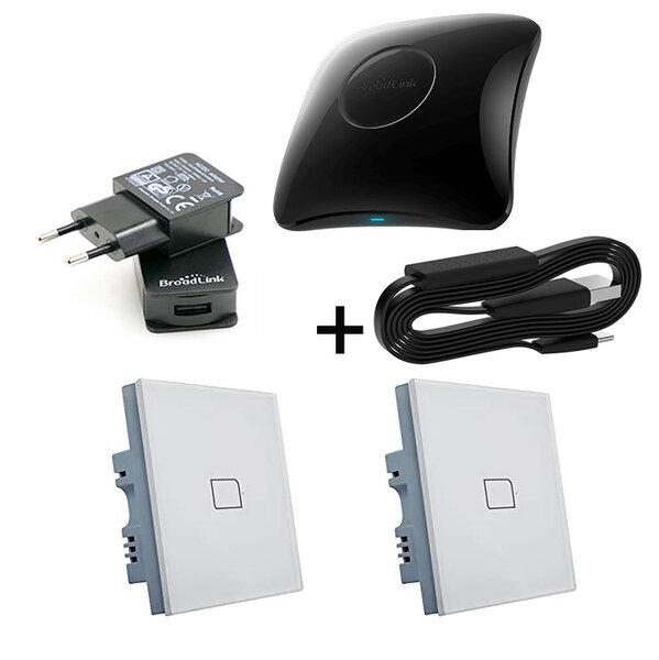 Комплект универсално дистанционно BroadLink RM4 Pro +HTS2 +Захранване +2бр. Bestcon TC2S -Умен Стенен Ключ