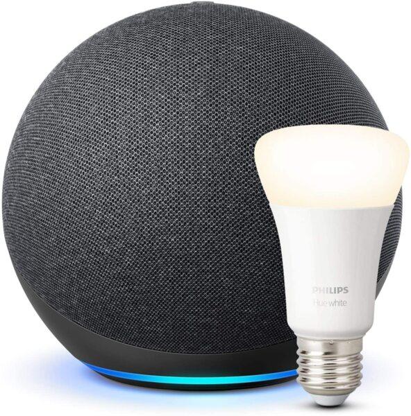 Комплект Amazon Echo 4th Gen с вграден Smart Home Hub + Philips Hue Бяла E27 9W