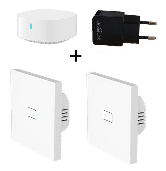 Комплект BroadLink S3 Hub + 2бр. TC3 -Умен Стенен Ключ +USB Захранване