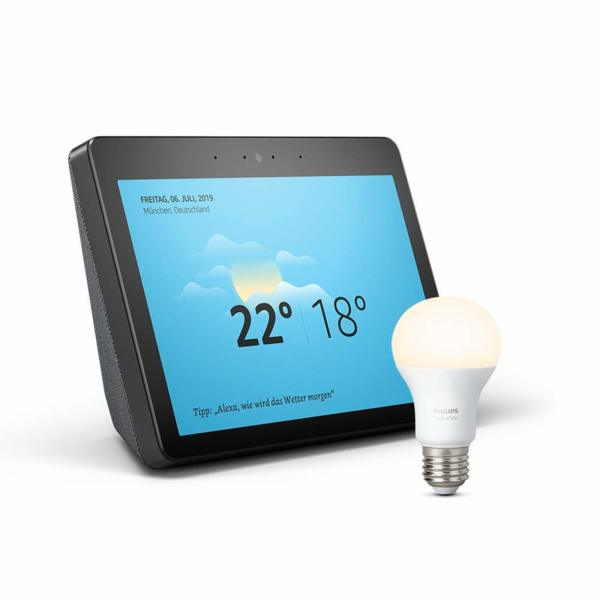 Комплект Amazon Echo Show (2nd Generation) с вграден Smart Home Hub + Philips Hue Крушка